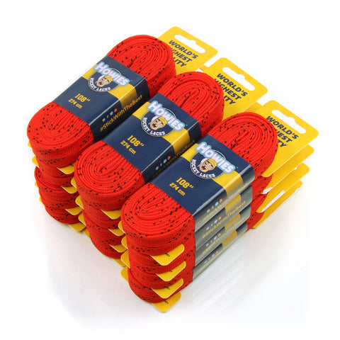 "Howies Red Cloth Hockey Skate Laces - 12pk 72"" 84"" 96"" 108"" 120"" - Howies Hockey Tape"