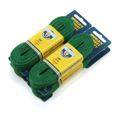 "Howies Green Waxed Hockey Skate Laces - 4pk 72"" 84"" 96"" 108"" 120"" 130"" - Howies Hockey Tape"