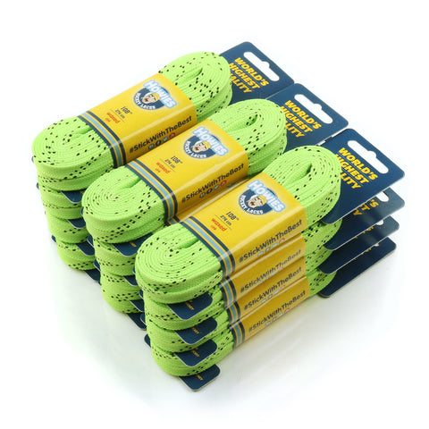 "Howies Neon Green Waxed Hockey Skate Laces - Bulk 12pk 72"" 84"" 96"" 108"" 120"" - Howies Hockey Tape"