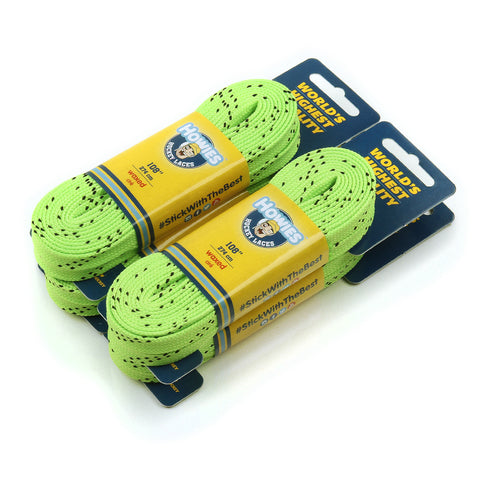 "Howies Neon Green Waxed Hockey Skate Laces - 4pk 72"" 84"" 96"" 108"" 120"" - Howies Hockey Tape"