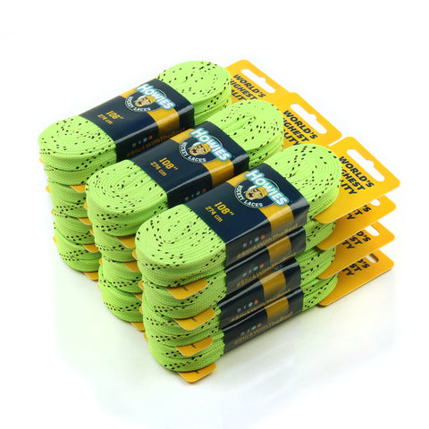 "Howies Neon Green Cloth Hockey Skate Laces - Bulk 12pk 72"" 84"" 96"" 108"" 120"" - Howies Hockey Tape"