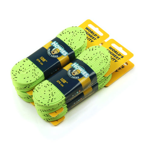 "Howies Neon Green Cloth Hockey Skate Laces - 4pk 72"" 84"" 96"" 108"" 120"" - Howies Hockey Tape"