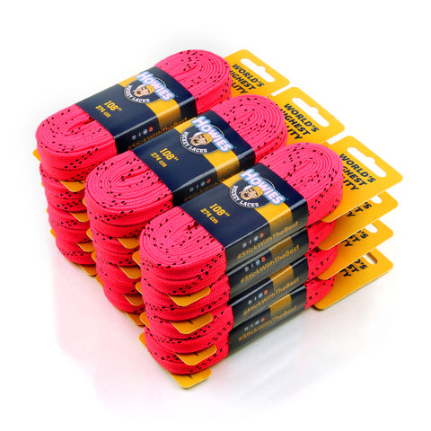 "Howies Hot Pink Cloth Hockey Skate Laces - Bulk 12pk 72"" 84"" 96"" 108"" 120"" 130"" - Howies Hockey Tape"