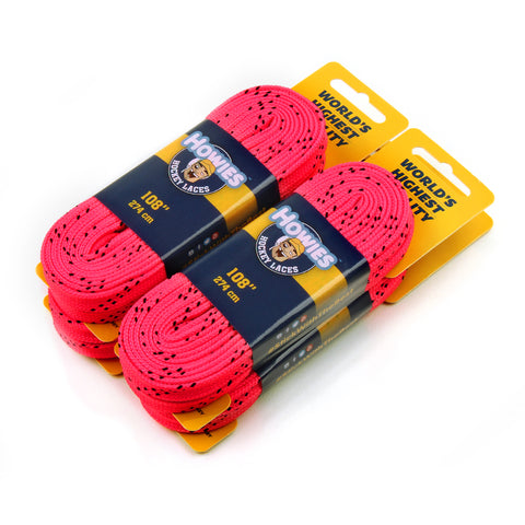 "Howies Hot Pink Cloth Hockey Skate Laces - 4pk 72"" 84"" 96"" 108"" 120"" 130"" - Howies Hockey Tape"