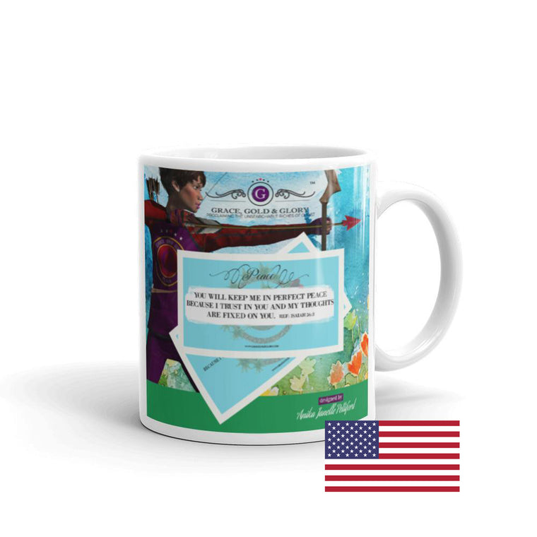 Grace, Gold & Glory™ Perfect Peace Mug. Made in the USA.