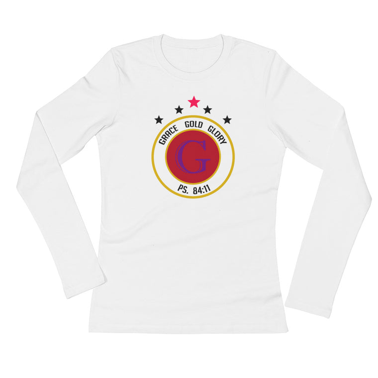 White Classic Grace, Gold & Glory™Ladies' Long Sleeve T-Shirt