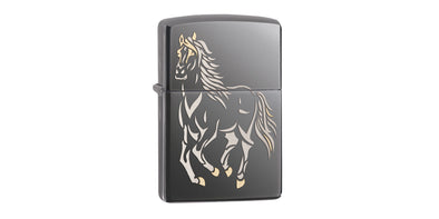 Zippo Black Ice with Running Horse