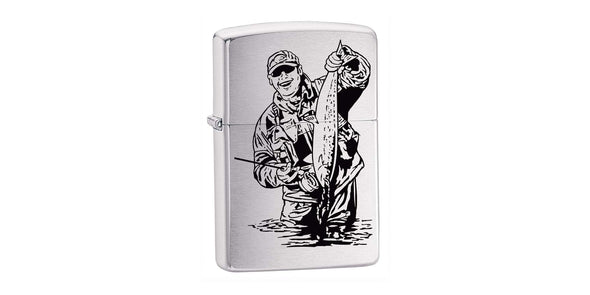 Zippo Fisherman in Brushed Chrome