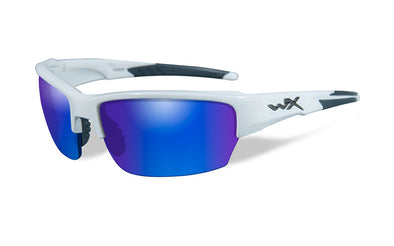 Wiley X Saint - Glossy White Frame with Blue Polarised Lenses