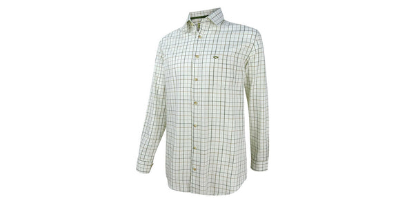 Hoggs of Fife Balmoral Luxury Tattersall Shirt - Green and Brown Check