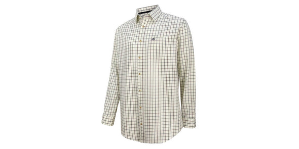 Hoggs of Fife Balmoral Luxury Tattersall Shirt - Navy and Wine Check