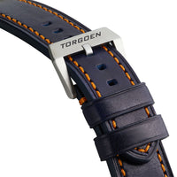 Blue Leather Strap w/ Orange Stitch | 24mm