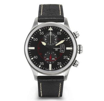 T33 Black Chrono | 45mm - Leather Strap