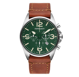 T16 Green | 44mm - Vintage Leather Strap