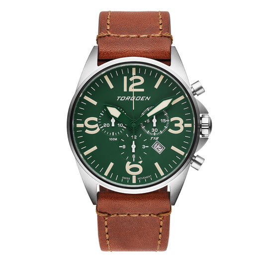 T16 Green Sapphire | 44mm - Vintage Leather Strap