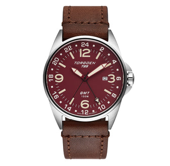 T25 Maroon | 44mm - Vintage Leather Strap