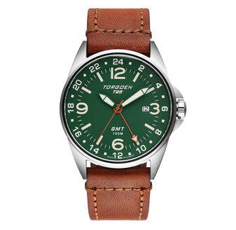 T25 Green Sapphire | 44mm - Vintage Leather Strap