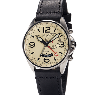 T30 Cream | 45mm - Vintage Black Leather Strap