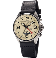T30 Sapphire Cream GMT/Alarm | 45mm - Vintage Black Leather Strap