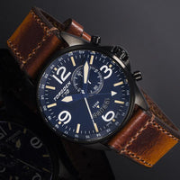 T30 Blue GMT/Alarm | Black IP Case | 45mm - Vintage Leather Strap