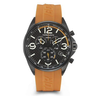 T18 Carbon Fiber | 45mm - Orange Silicon Strap