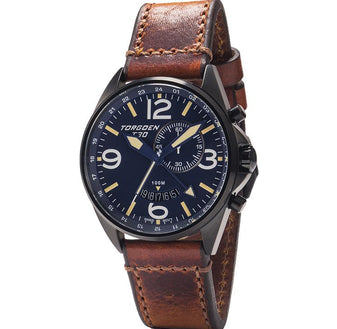 T30 Blue | Black IP Case | 45mm - Vintage Leather Strap