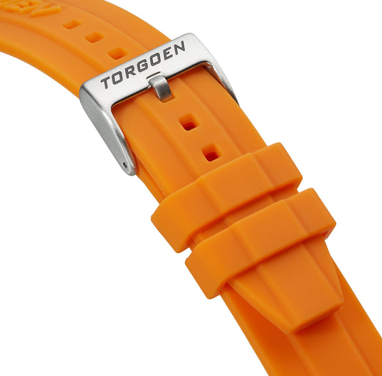 Orange Silicone Strap | 24mm Silver Buckle (Form-Fit)