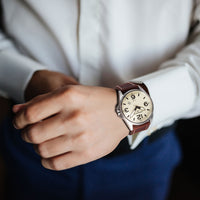 T10 Cream | 44mm - Leather Strap