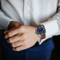 T25 Blue | 41mm - Vintage Leather Strap