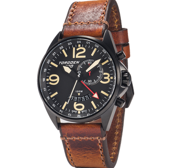 T30 Black GMT/Alarm | 45mm - Vintage Leather Strap