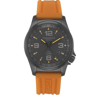 T05 Black | 42mm - Orange Silicon Strap
