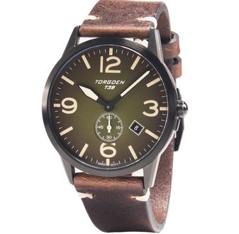 T39 Green | 41mm - Vintage Leather Strap