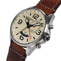 T30 Cream GMT/Alarm | 45mm - Vintage Leather Strap