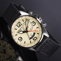 T30 Cream GMT/Alarm | 45mm - Vintage Black Leather Strap