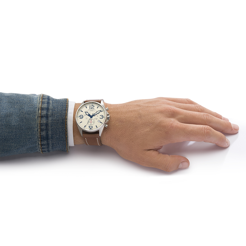 T16 Cream | 45mm - Leather Strap