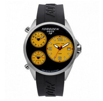 T08 Black and Yellow | 45 mm - PU Black Strap