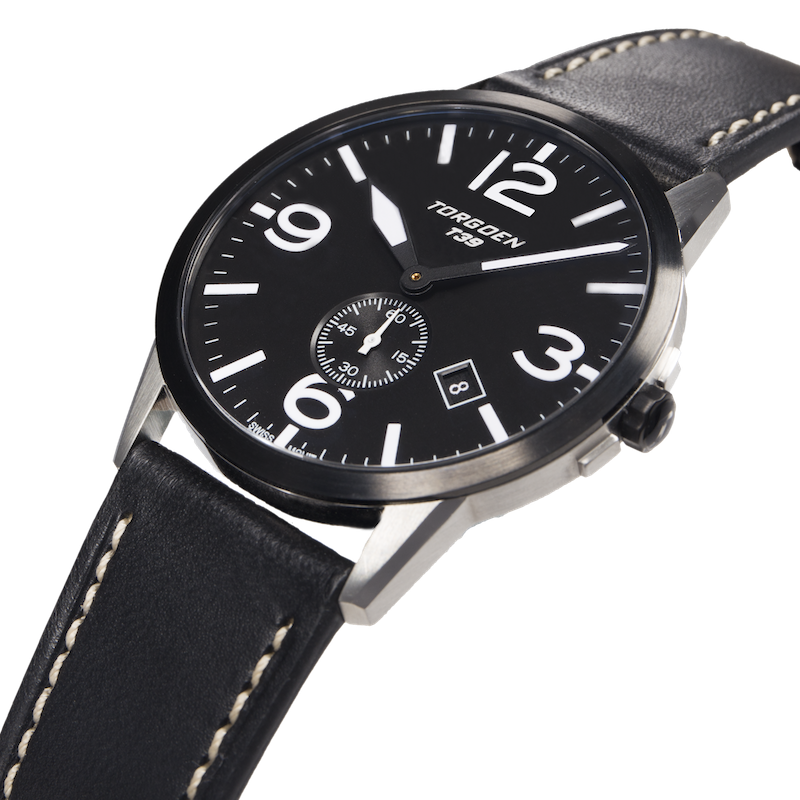 T39 Black | 41mm - Black Leather Strap