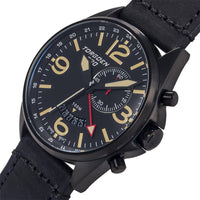 T30 Black GMT/Alarm | 45mm - Black Vintage Leather Strap