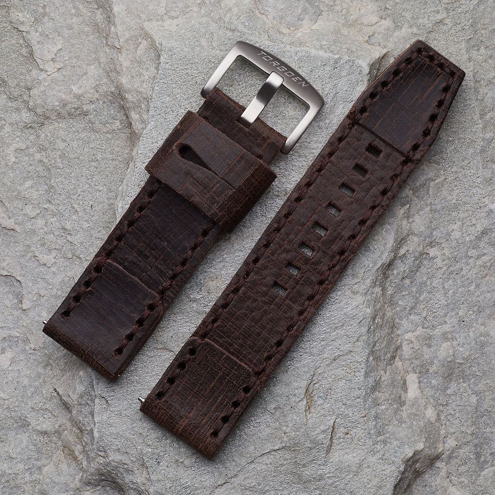 Brown Distressed Leather Strap | 24mm