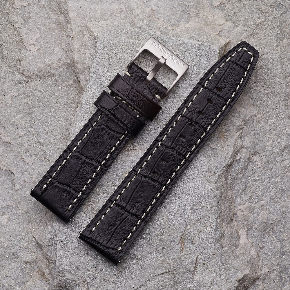 Black Crocodile Pattern Strap | 22mm