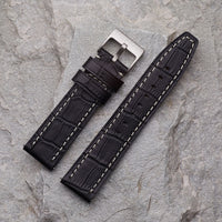Black Crocodile Pattern Strap | 24mm