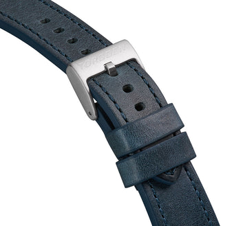 Blue Leather Strap w/ Orange Stitching | 22mm