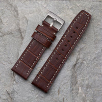 Brown Crocodile Pattern Strap | 24mm
