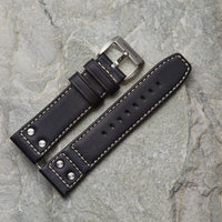 Black Leather Strap w/ Studs | 24mm