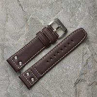 Brown Leather Strap w/ Studs | 24mm
