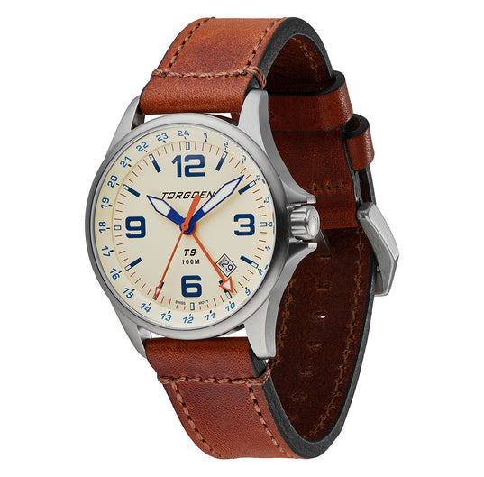 T9 Cream Ibis GMT | 42mm  - Brown Vintage Leather Strap