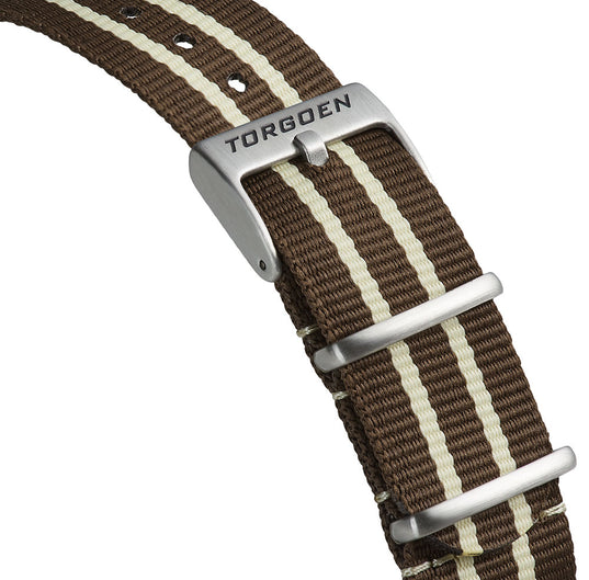 Brown and White Nato Strap | 22mm