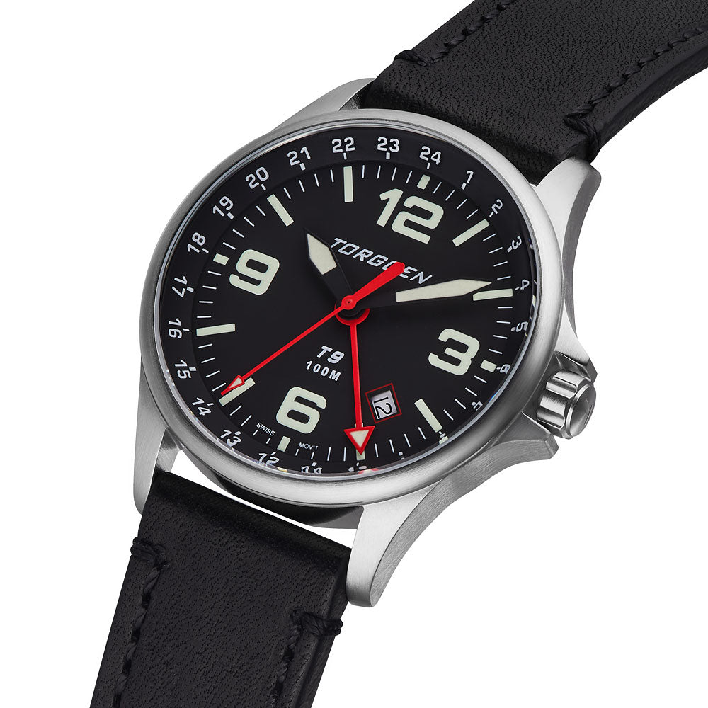 T9 Redwing GMT | 42mm  - Black Leather Strap