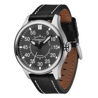 T34 Grey | 45mm - Black  Leather Strap