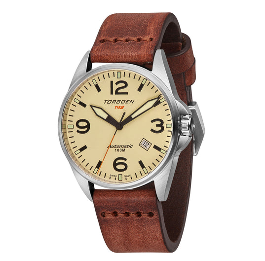 T42 Cream Automatic | 41mm - Vintage Leather Strap